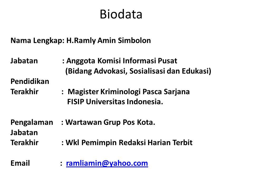 Biodata Nama Lengkap: H.Ramly Amin Simbolon