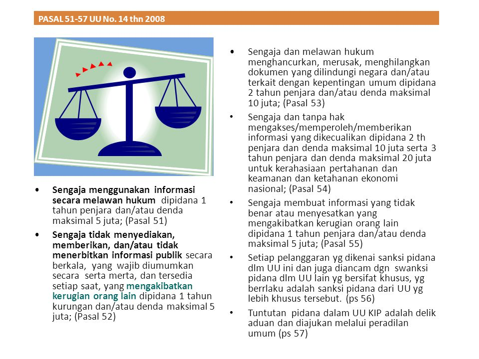 PASAL 51-57 UU No. 14 thn 2008