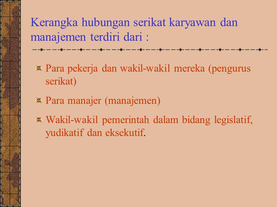 Kerangka hubungan serikat karyawan dan manajemen terdiri dari :
