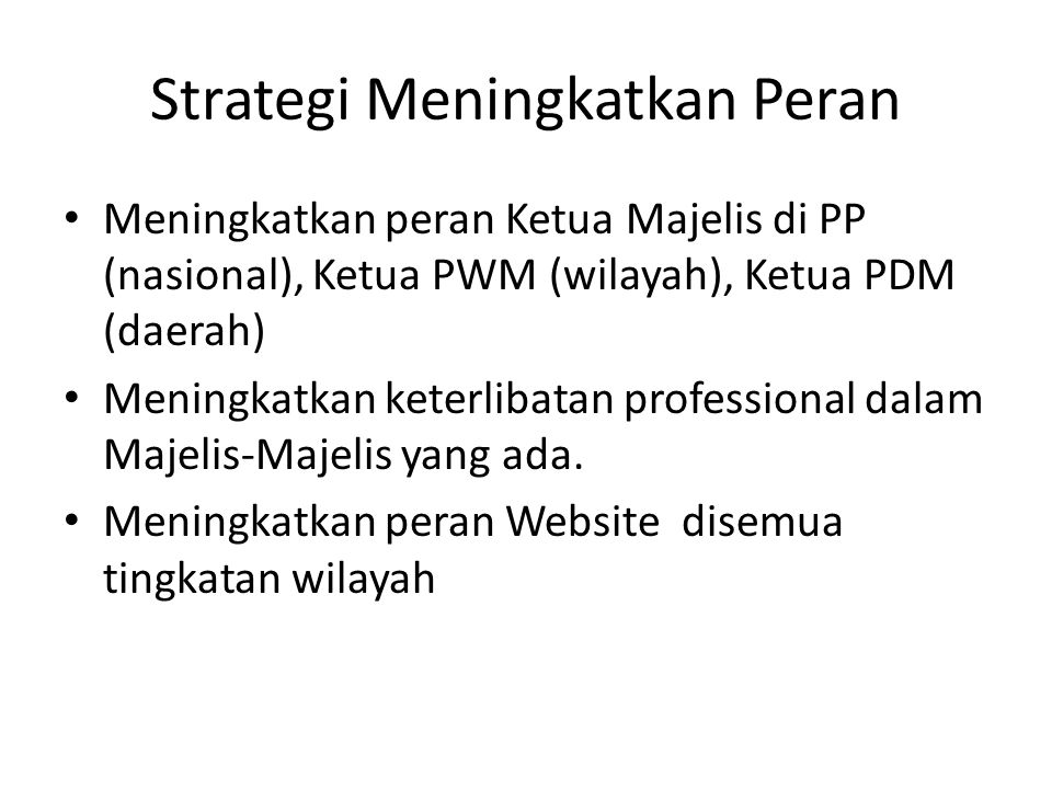 Strategi Meningkatkan Peran