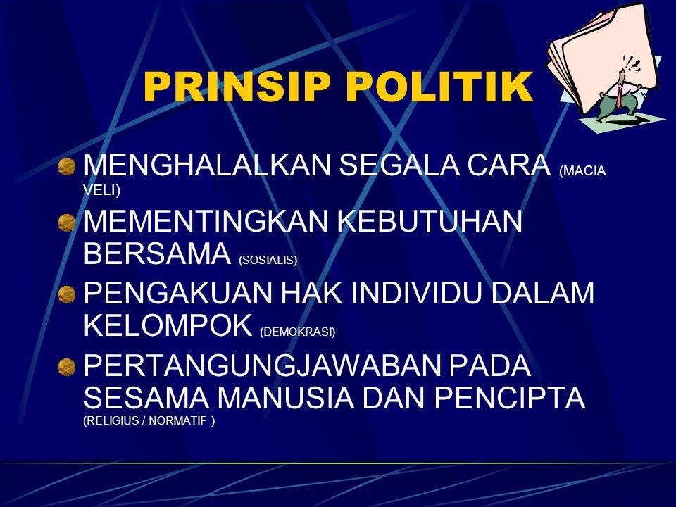 PRINSIP POLITIK MENGHALALKAN SEGALA CARA (MACIA VELI)