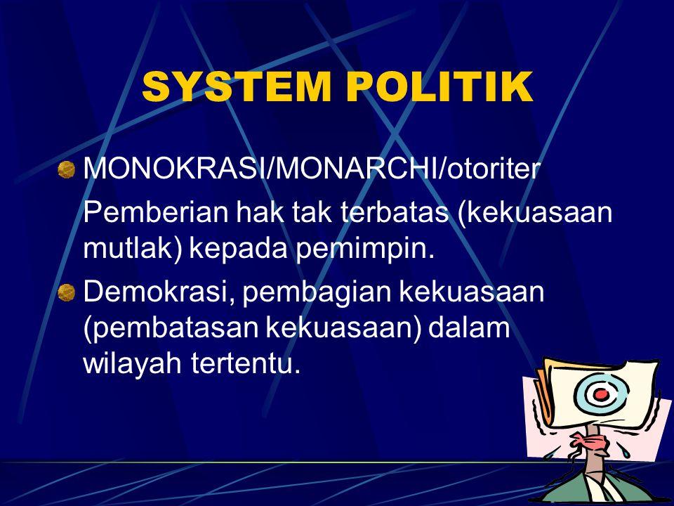 SYSTEM POLITIK MONOKRASI/MONARCHI/otoriter