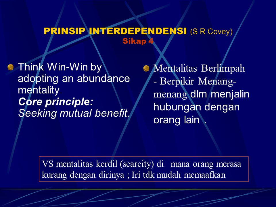 PRINSIP INTERDEPENDENSI (S R Covey) Sikap 4