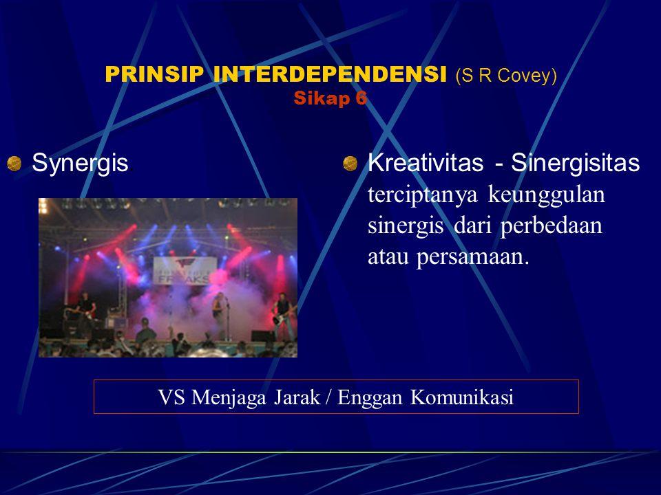 PRINSIP INTERDEPENDENSI (S R Covey) Sikap 6