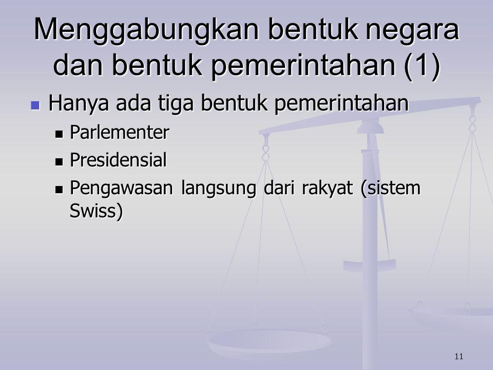 Menggabungkan bentuk negara dan bentuk pemerintahan (1)