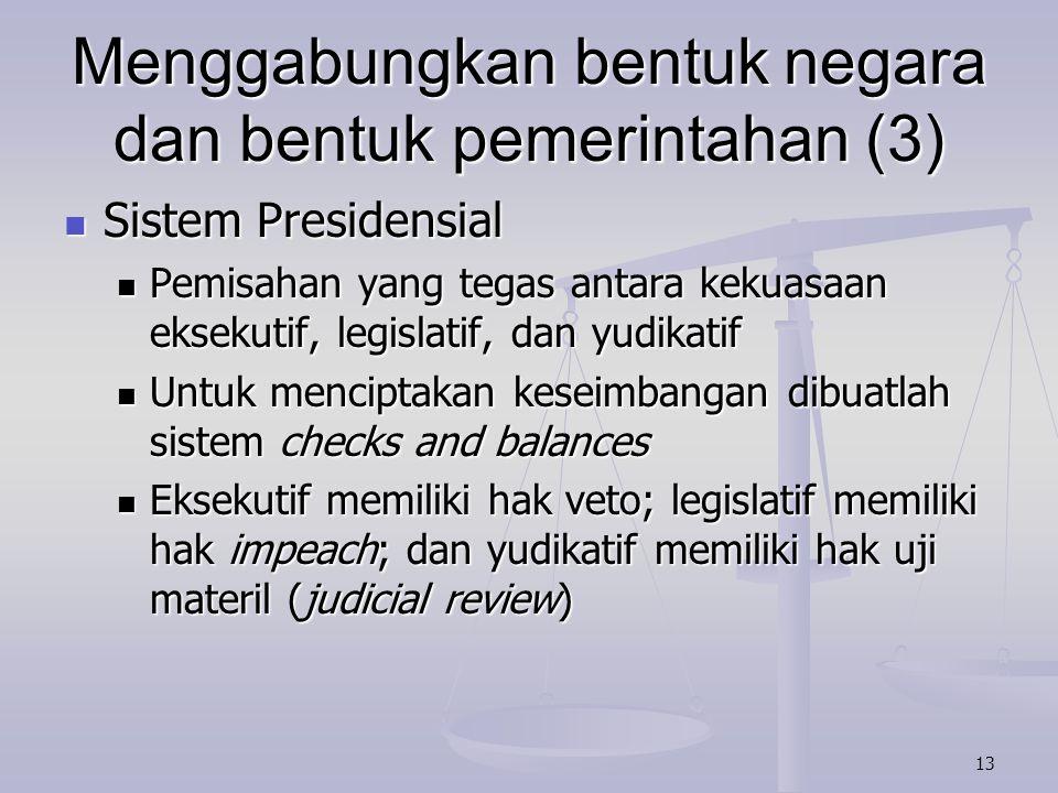 Menggabungkan bentuk negara dan bentuk pemerintahan (3)