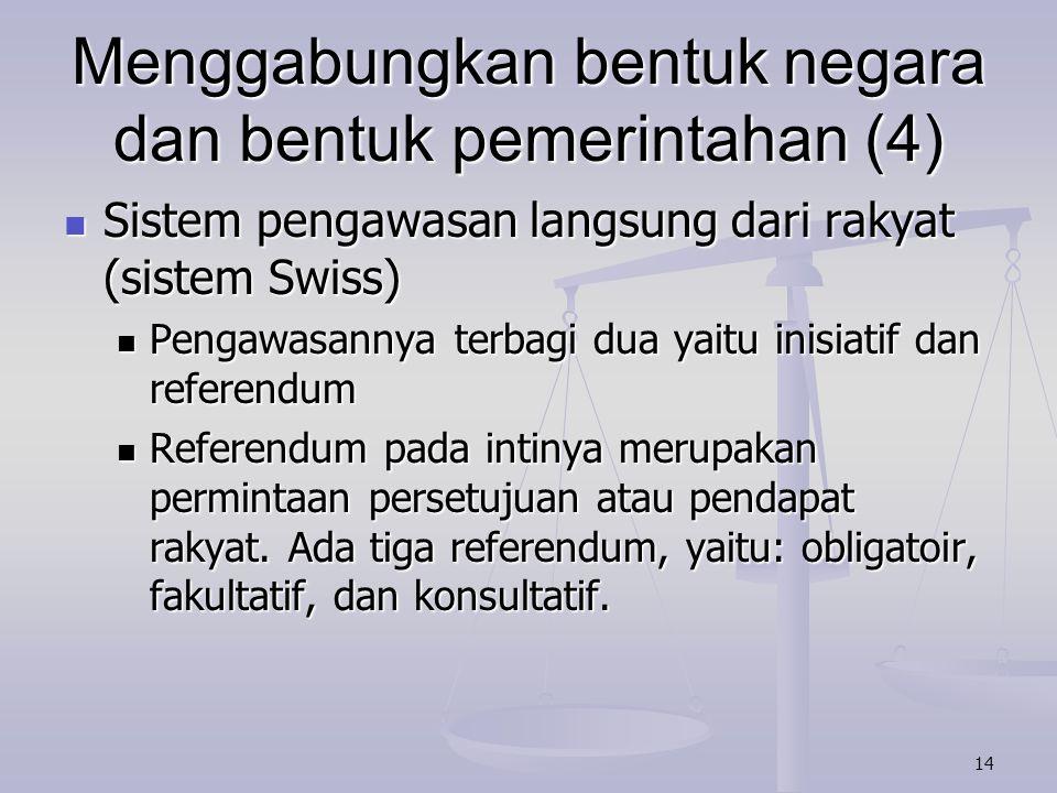 Menggabungkan bentuk negara dan bentuk pemerintahan (4)