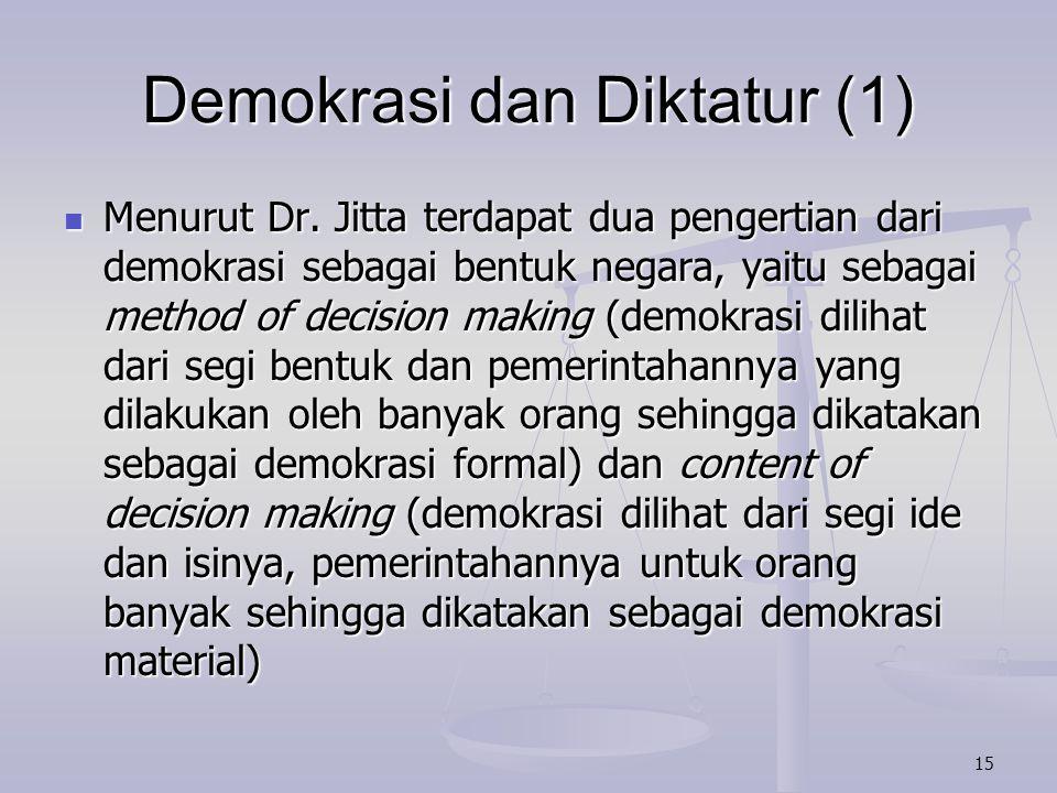 Demokrasi dan Diktatur (1)