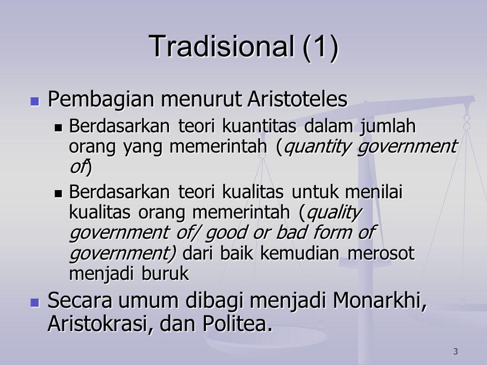 Tradisional (1) Pembagian menurut Aristoteles