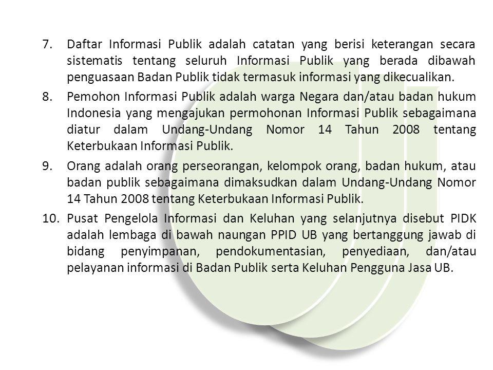 Daftar Informasi Publik adalah catatan yang berisi keterangan secara sistematis tentang seluruh Informasi Publik yang berada dibawah penguasaan Badan Publik tidak termasuk informasi yang dikecualikan.