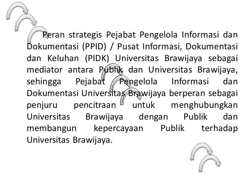 Peran strategis Pejabat Pengelola Informasi dan Dokumentasi (PPID) / Pusat Informasi, Dokumentasi dan Keluhan (PIDK) Universitas Brawijaya sebagai mediator antara Publik dan Universitas Brawijaya, sehingga Pejabat Pengelola Informasi dan Dokumentasi Universitas Brawijaya berperan sebagai penjuru pencitraan untuk menghubungkan Universitas Brawijaya dengan Publik dan membangun kepercayaan Publik terhadap Universitas Brawijaya.