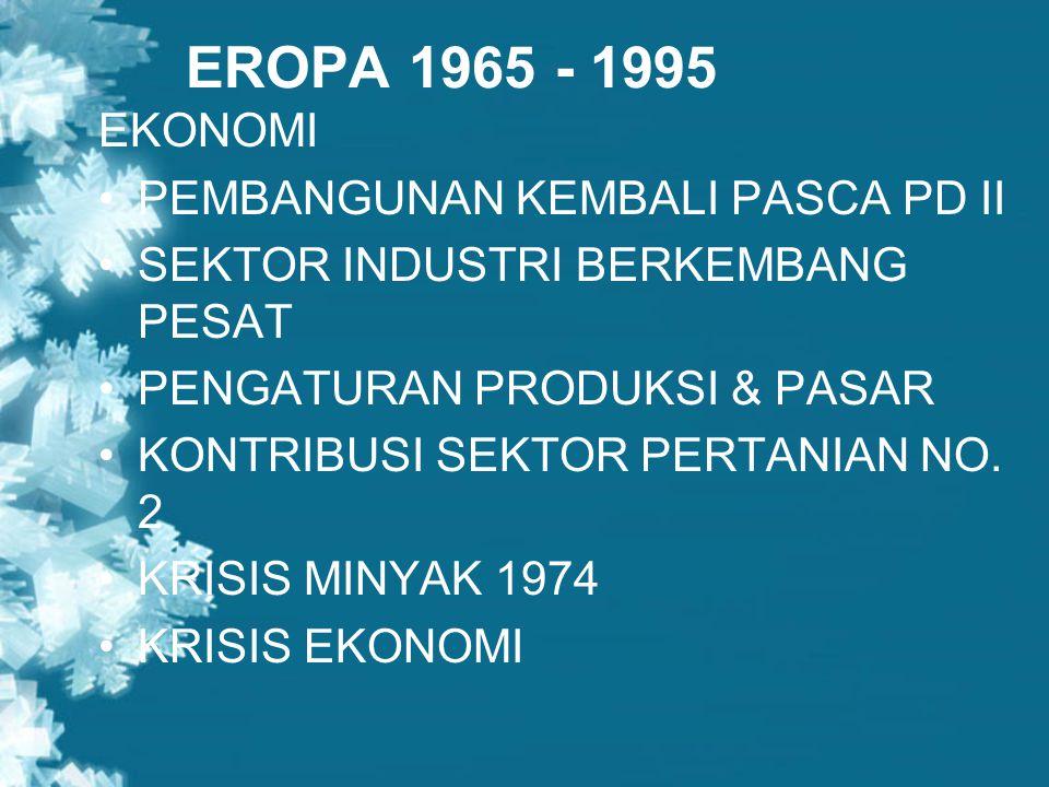 EROPA 1965 - 1995 EKONOMI PEMBANGUNAN KEMBALI PASCA PD II
