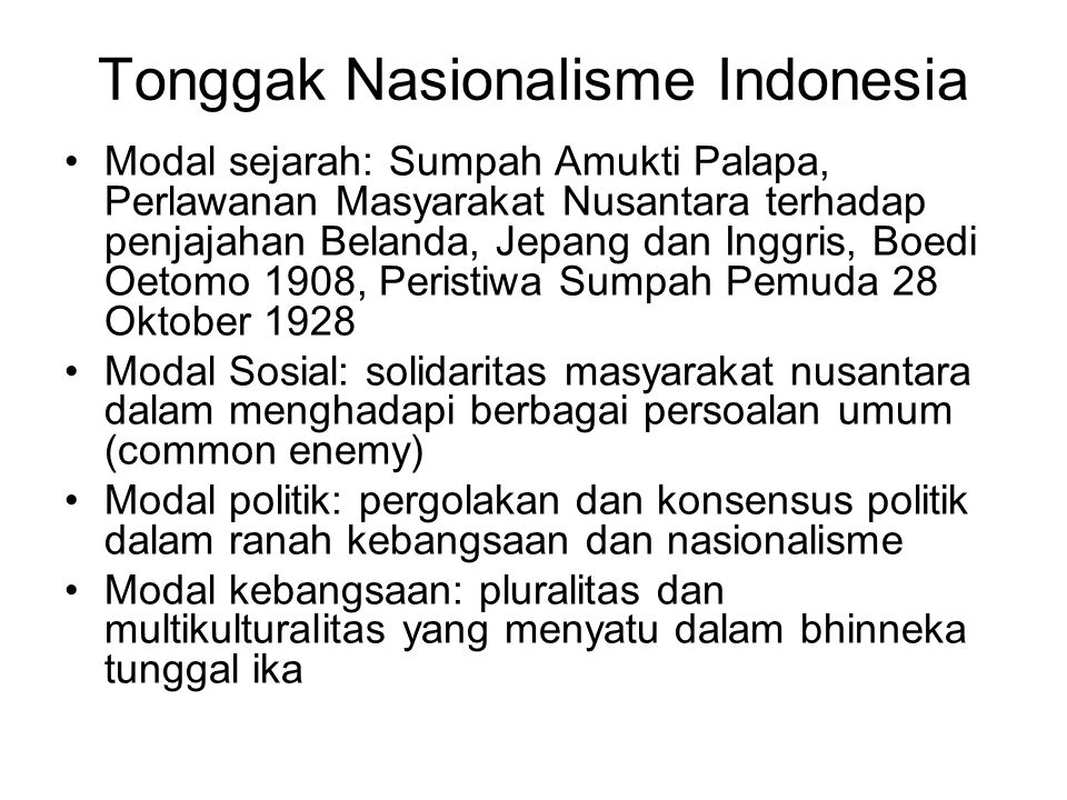 Tonggak Nasionalisme Indonesia