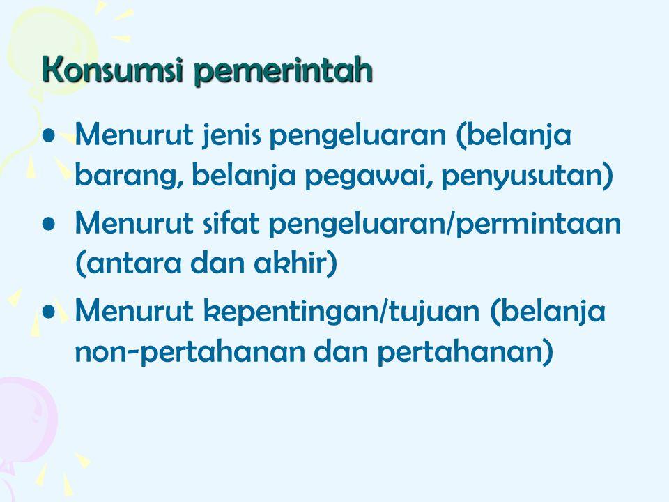 Konsumsi pemerintah Menurut jenis pengeluaran (belanja barang, belanja pegawai, penyusutan) Menurut sifat pengeluaran/permintaan (antara dan akhir)