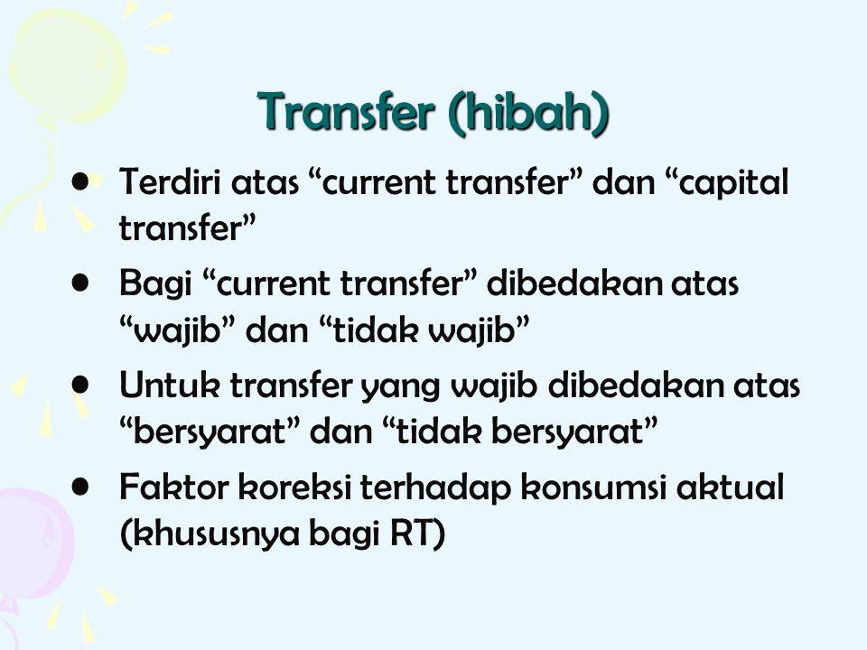 Transfer (hibah) Terdiri atas current transfer dan capital transfer Bagi current transfer dibedakan atas wajib dan tidak wajib