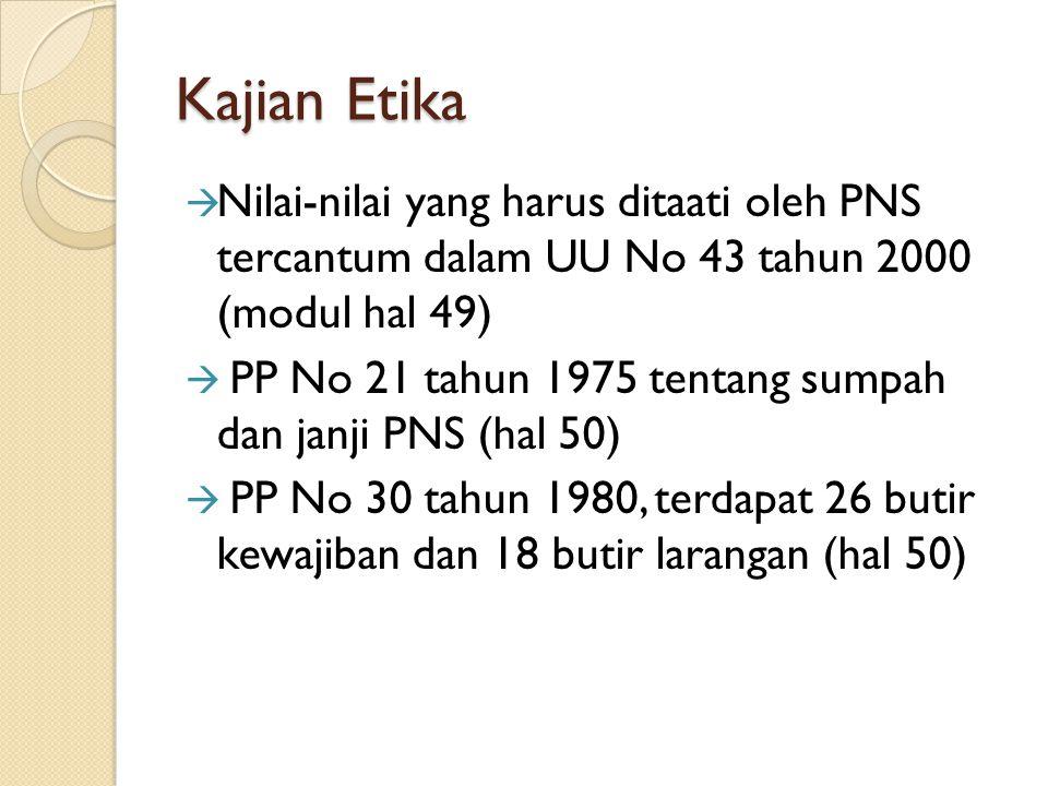Kajian Etika Nilai-nilai yang harus ditaati oleh PNS tercantum dalam UU No 43 tahun 2000 (modul hal 49)