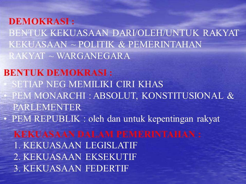 DEMOKRASI : BENTUK KEKUASAAN DARI/OLEH/UNTUK RAKYAT. KEKUASAAN ~ POLITIK & PEMERINTAHAN. RAKYAT ~ WARGANEGARA.