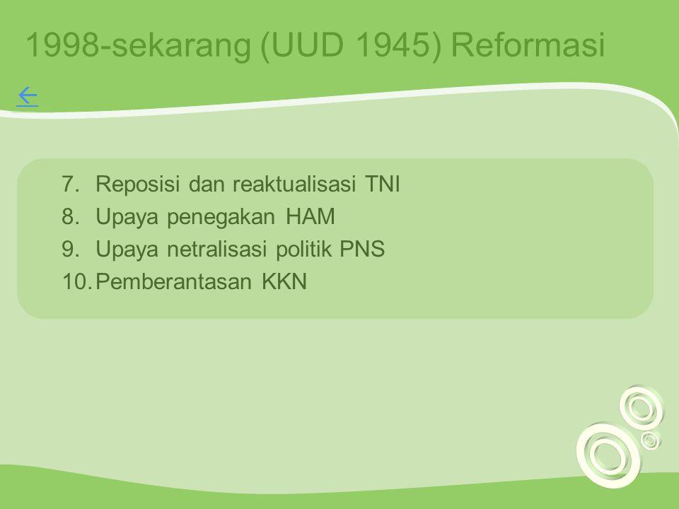 1998-sekarang (UUD 1945) Reformasi
