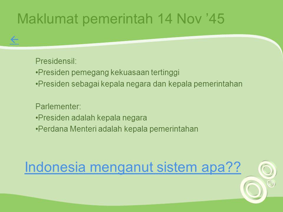 Maklumat pemerintah 14 Nov '45