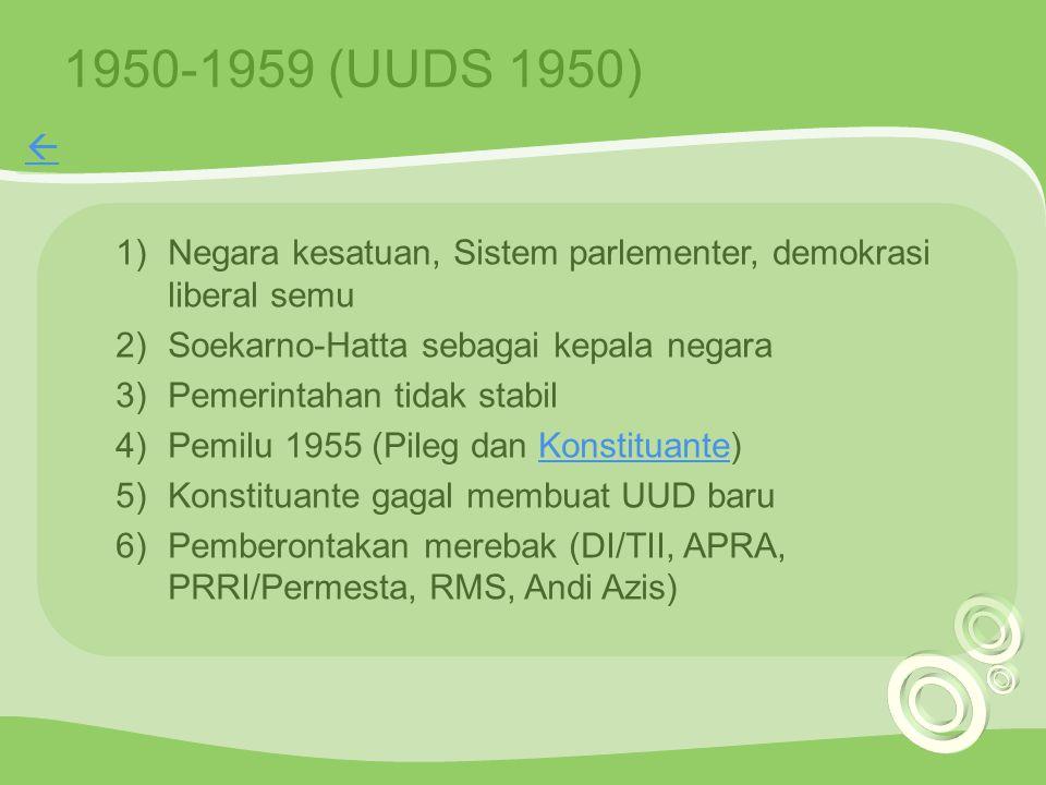 1950-1959 (UUDS 1950)  Negara kesatuan, Sistem parlementer, demokrasi liberal semu. Soekarno-Hatta sebagai kepala negara.