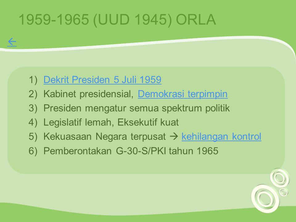 1959-1965 (UUD 1945) ORLA  Dekrit Presiden 5 Juli 1959