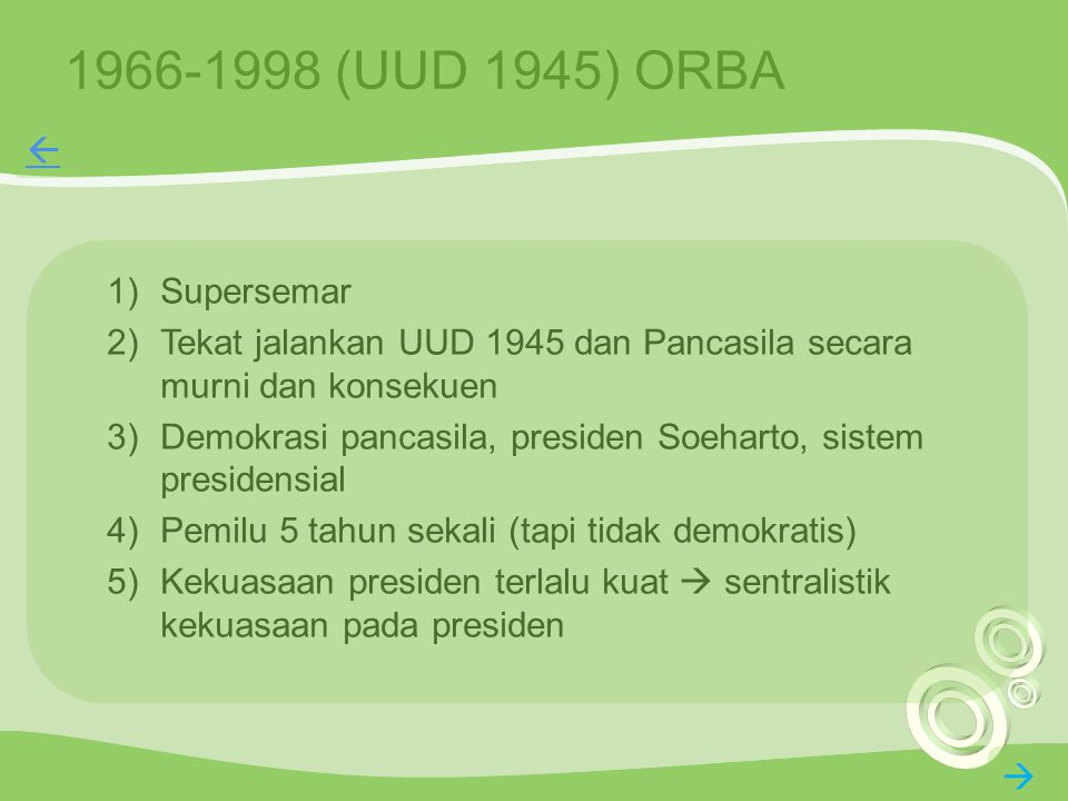 1966-1998 (UUD 1945) ORBA  Supersemar