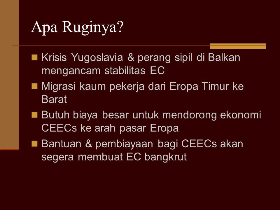 Apa Ruginya Krisis Yugoslavia & perang sipil di Balkan mengancam stabilitas EC. Migrasi kaum pekerja dari Eropa Timur ke Barat.