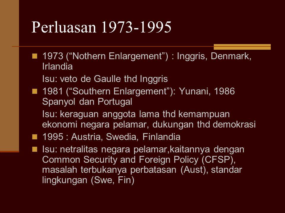 Perluasan 1973-1995 1973 ( Nothern Enlargement ) : Inggris, Denmark, Irlandia. Isu: veto de Gaulle thd Inggris.