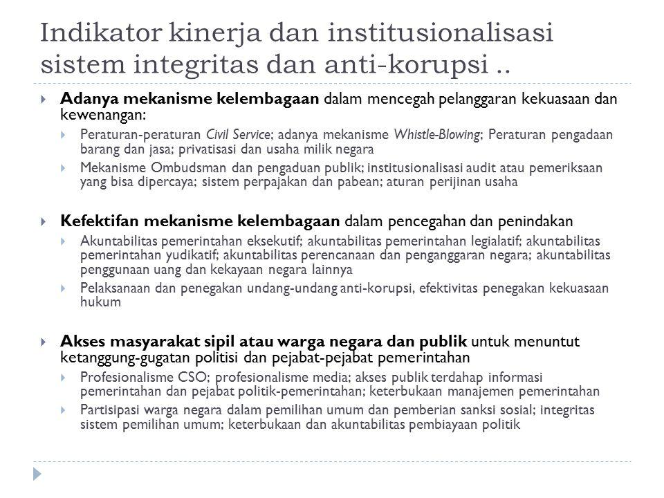 Indikator kinerja dan institusionalisasi sistem integritas dan anti-korupsi ..