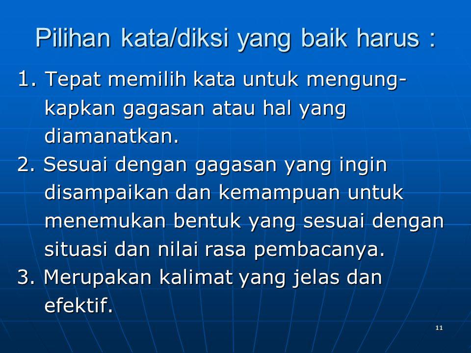 Pilihan kata/diksi yang baik harus :