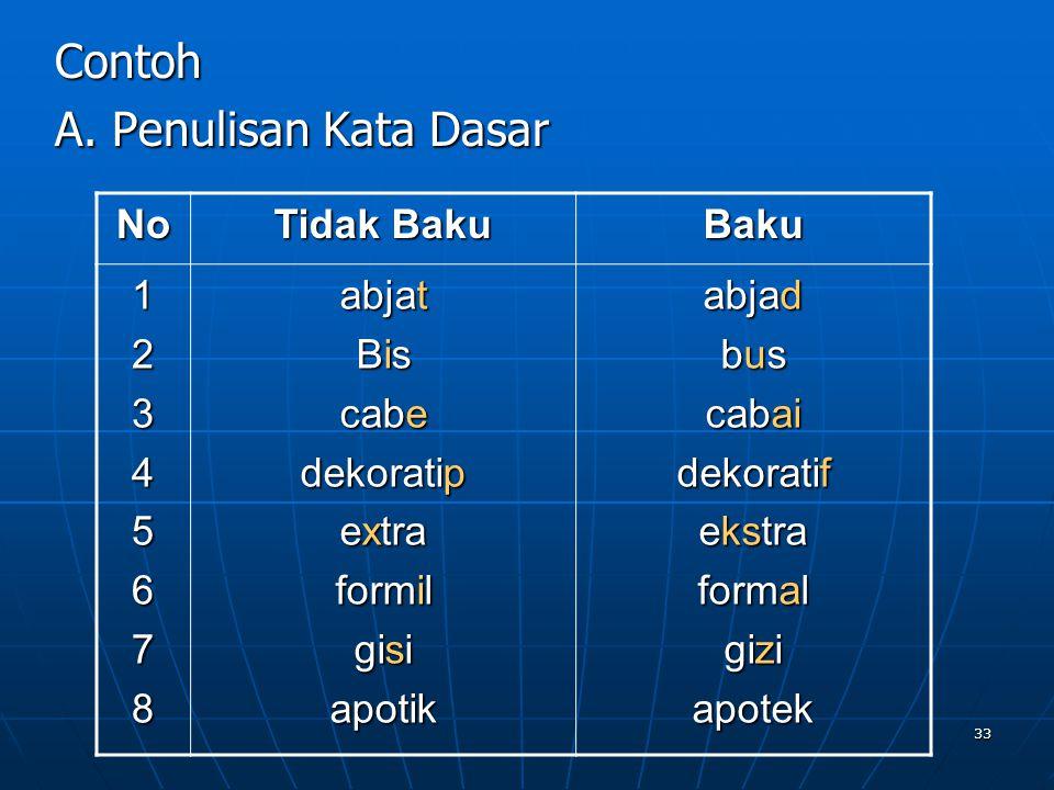 Contoh A. Penulisan Kata Dasar No Tidak Baku Baku 1 2 3 4 5 6 7 8