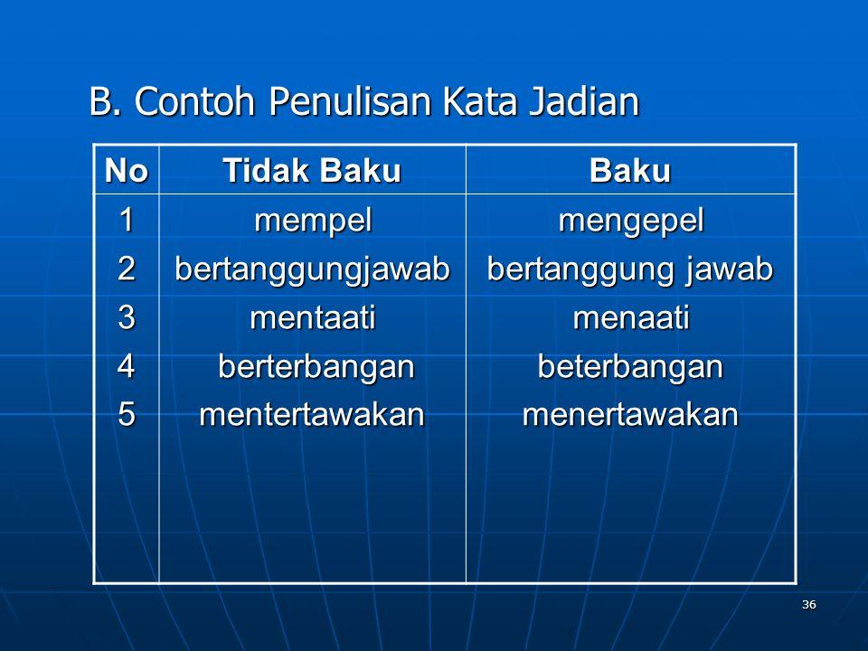 B. Contoh Penulisan Kata Jadian