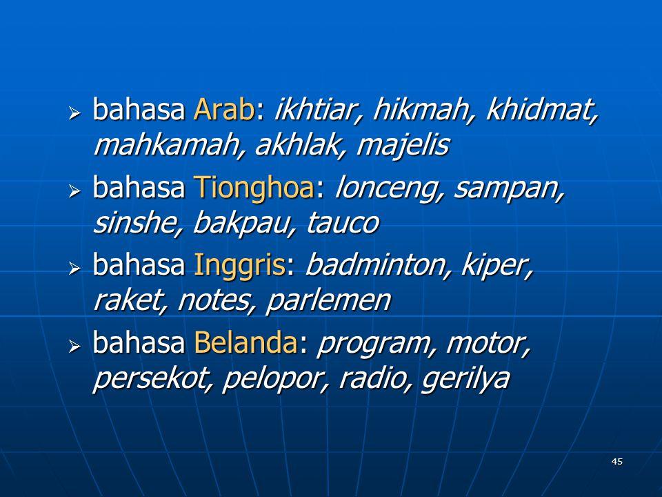 bahasa Arab: ikhtiar, hikmah, khidmat, mahkamah, akhlak, majelis