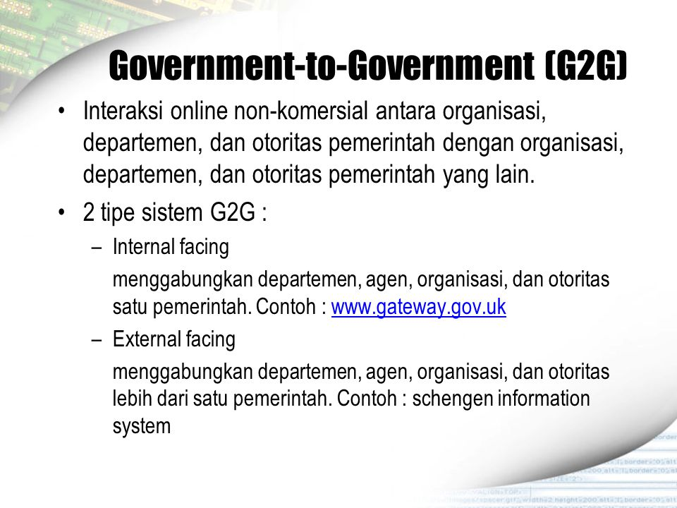 Government-to-Government (G2G)