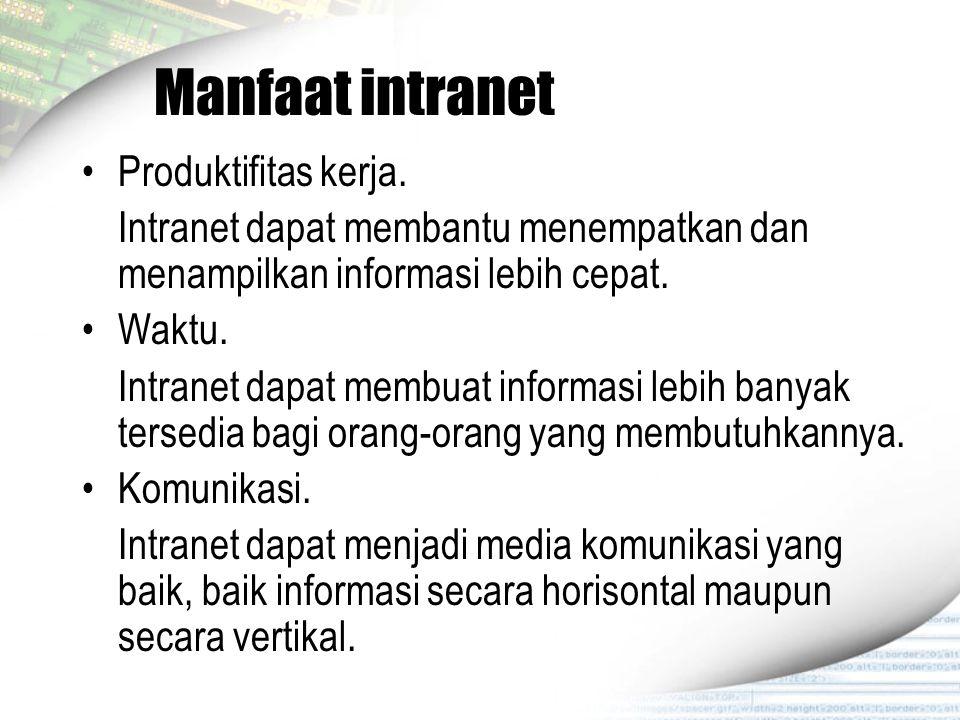 Manfaat intranet Produktifitas kerja.