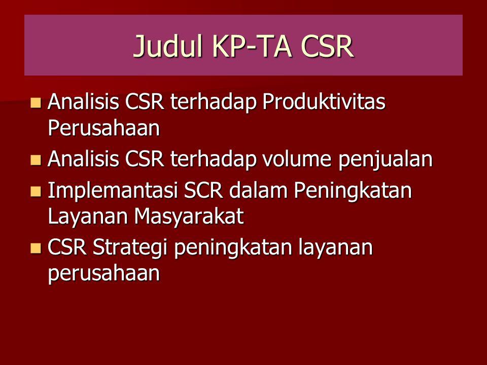 Judul KP-TA CSR Analisis CSR terhadap Produktivitas Perusahaan