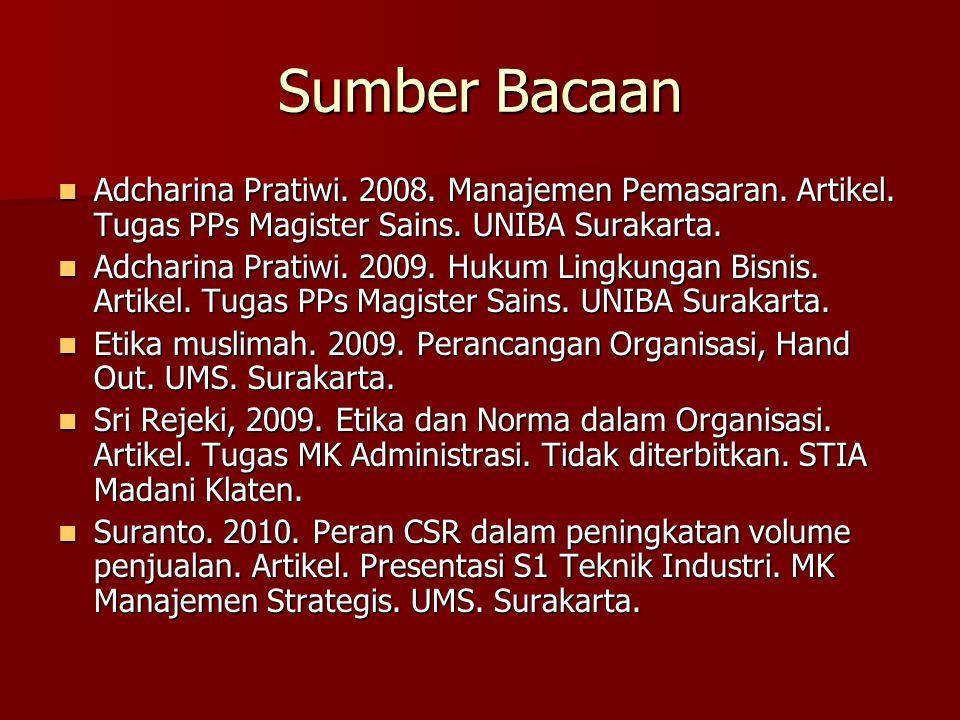 Sumber Bacaan Adcharina Pratiwi. 2008. Manajemen Pemasaran. Artikel. Tugas PPs Magister Sains. UNIBA Surakarta.