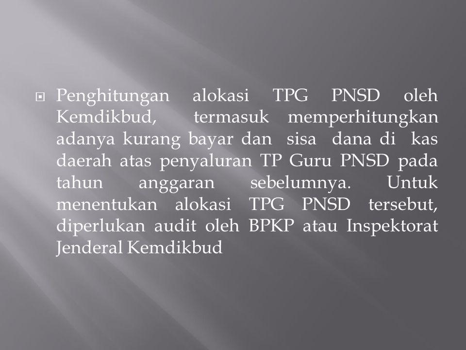 Penghitungan alokasi TPG PNSD oleh Kemdikbud, termasuk memperhitungkan adanya kurang bayar dan sisa dana di kas daerah atas penyaluran TP Guru PNSD pada tahun anggaran sebelumnya.