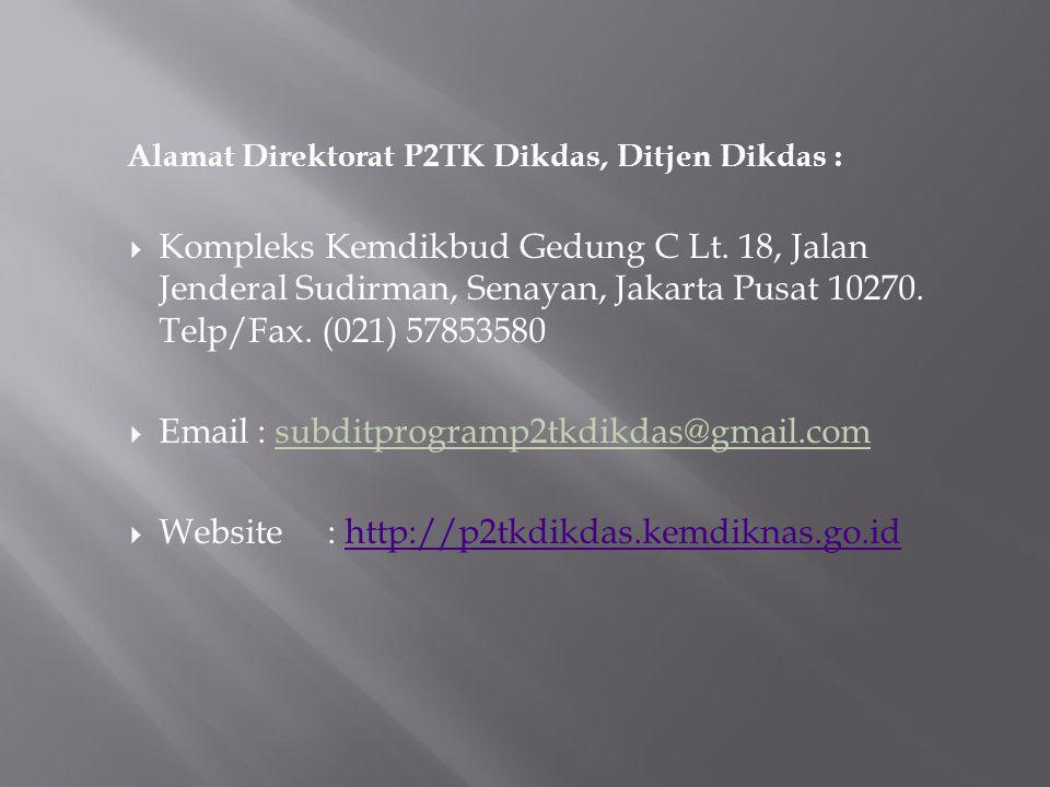 Website : http://p2tkdikdas.kemdiknas.go.id