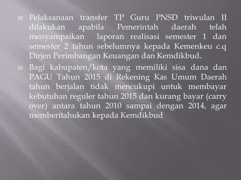 Pelaksanaan transfer TP Guru PNSD triwulan II dilakukan apabila Pemerintah daerah telah menyampaikan laporan realisasi semester 1 dan semester 2 tahun sebelumnya kepada Kemenkeu c.q Dirjen Perimbangan Keuangan dan Kemdikbud.