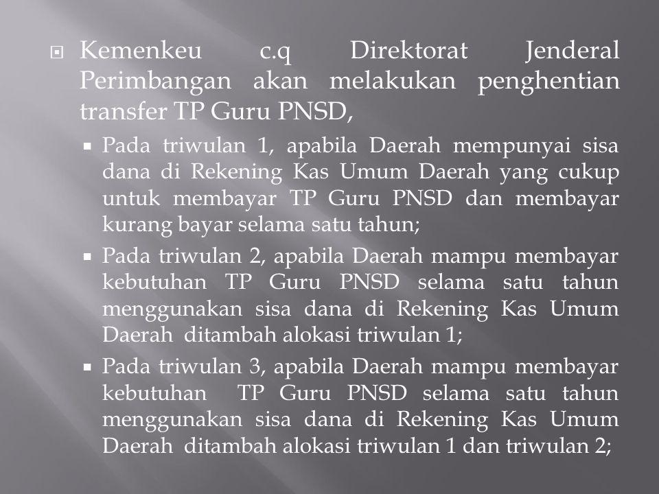 Kemenkeu c.q Direktorat Jenderal Perimbangan akan melakukan penghentian transfer TP Guru PNSD,