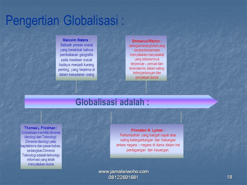 Pengertian Globalisasi :