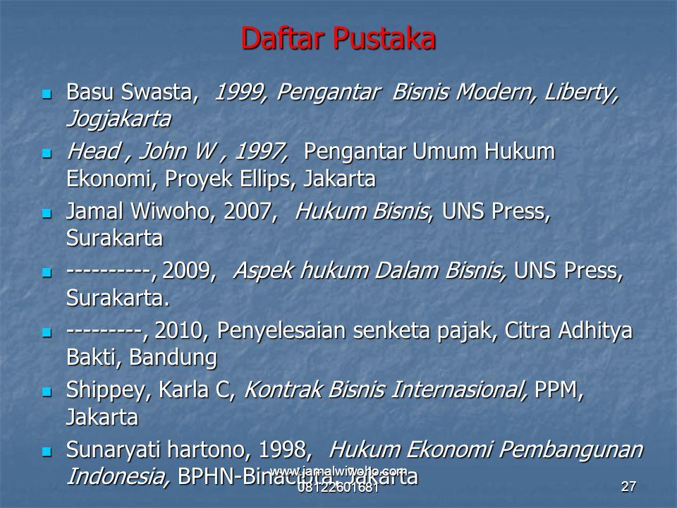 Daftar Pustaka Basu Swasta, 1999, Pengantar Bisnis Modern, Liberty, Jogjakarta.