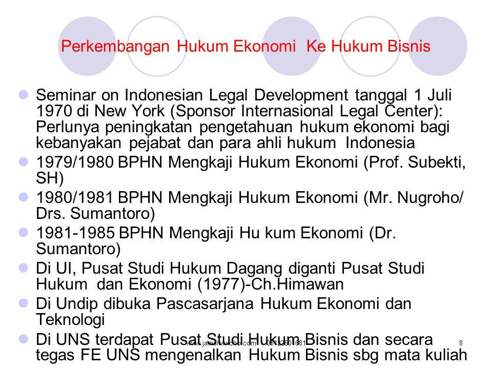 Perkembangan Hukum Ekonomi Ke Hukum Bisnis