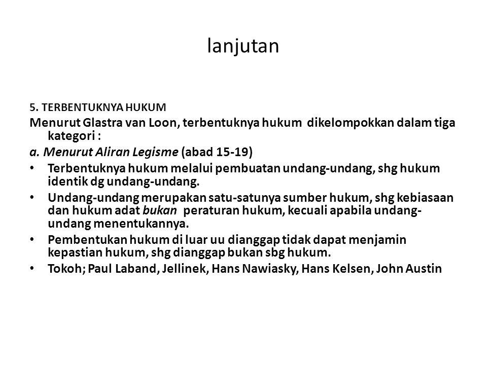 lanjutan 5. TERBENTUKNYA HUKUM. Menurut Glastra van Loon, terbentuknya hukum dikelompokkan dalam tiga kategori :