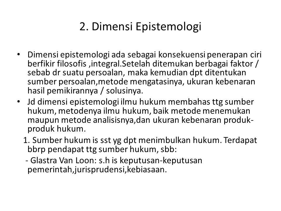 2. Dimensi Epistemologi