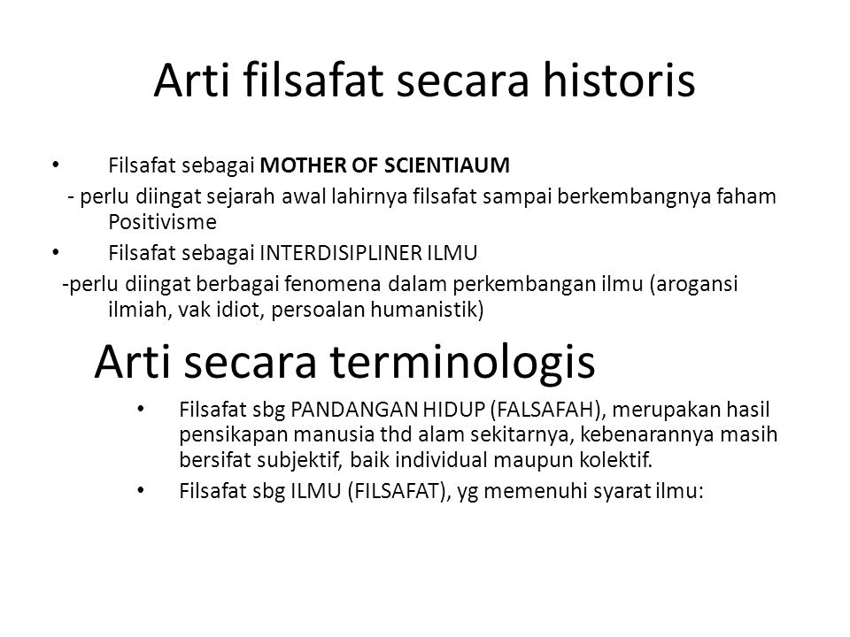 Arti filsafat secara historis