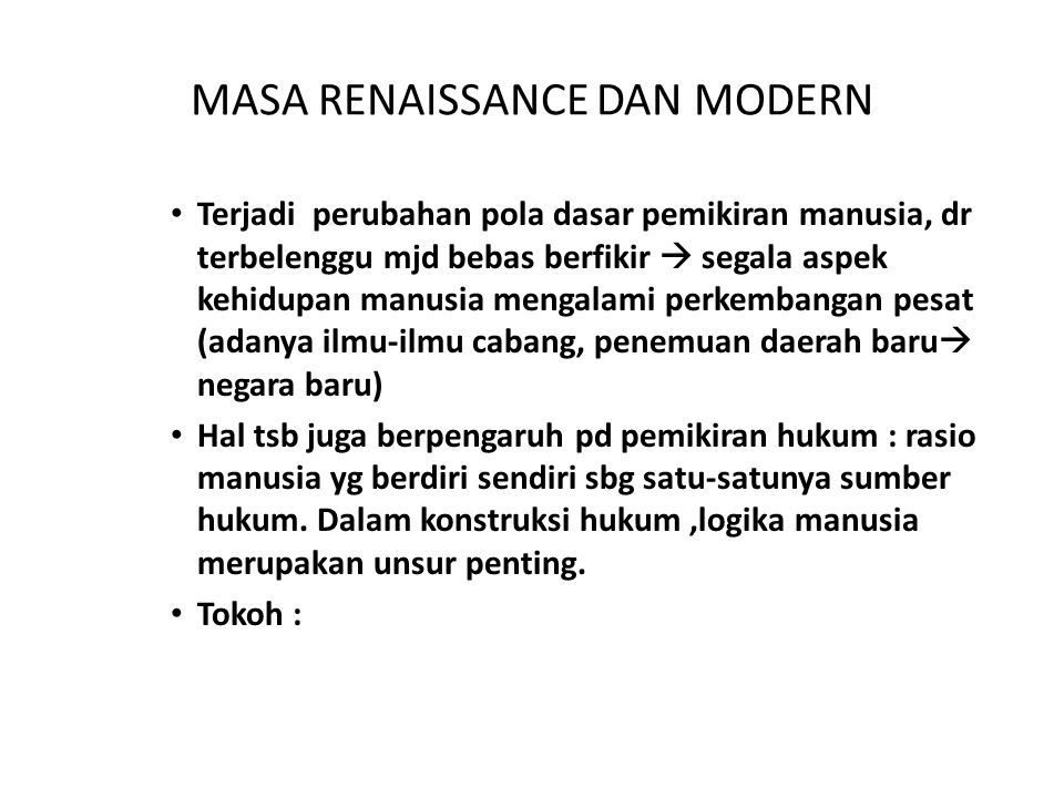 MASA RENAISSANCE DAN MODERN