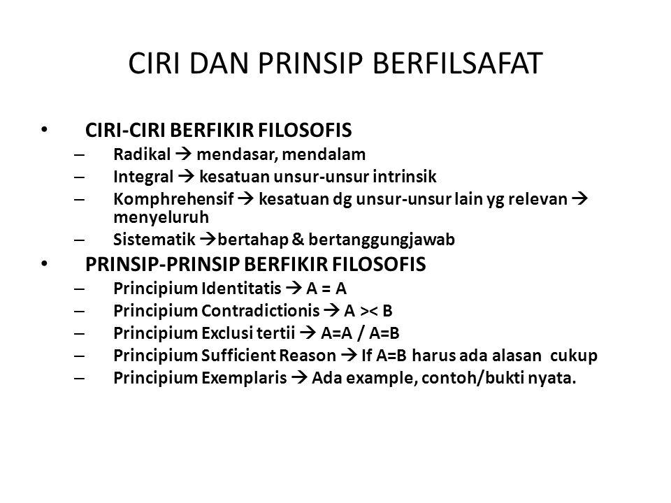 CIRI DAN PRINSIP BERFILSAFAT