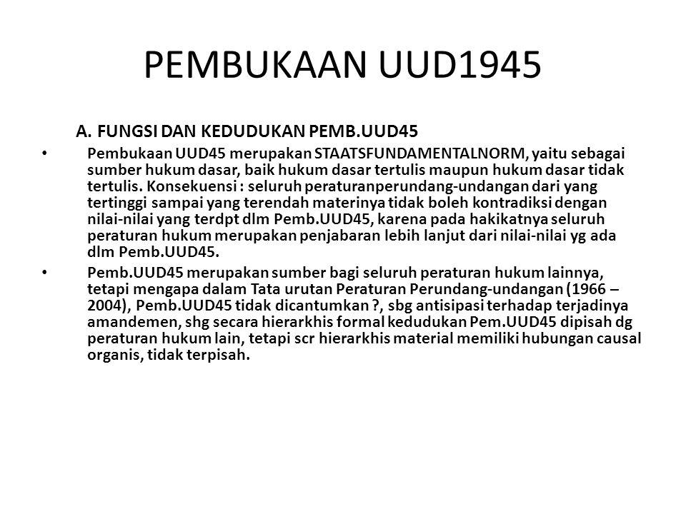 PEMBUKAAN UUD1945 A. FUNGSI DAN KEDUDUKAN PEMB.UUD45
